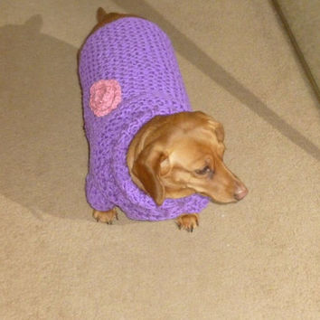 Hand Knit Dog Sweater Chunky Turtleneck Purple Dog Sweater with Crochet Pink Flower Dog Jumper Dog Clothing Dog Apparel Pets Clothing