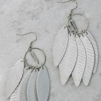 Leather Feather Earrings, Silver
