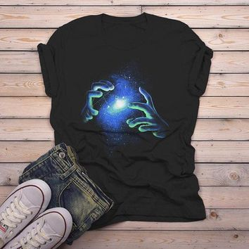 Men's Artistic T Shirt Hand Drawn Space Galaxy Shirt Hold Universe Graphic Tee