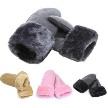 Unisex Women Men Winter Bicycling Imitation Fur Driving Warm Gloves Mitten Black = 1931925188