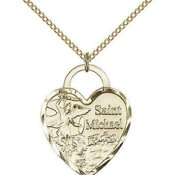 """Saint Michael The Archangel Medal For Women - Gold Filled Necklace On 18"""" Cha... 617759567793"""