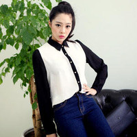 YESSTYLE: DANGOLGAGE- Color-Block Chiffon Blouse - Free International Shipping on orders over $150