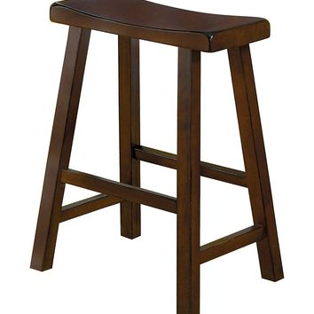 "Wooden 24"" Counter Height Stool with Saddle Seat, Warm Cherry Brown, Set Of 2"
