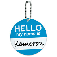 Kameron Hello My Name Is Round ID Card Luggage Tag
