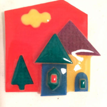 LUCINDA House Pins Abstract ART Colorful BRIGHT Bold City Sky Figural Pin Red