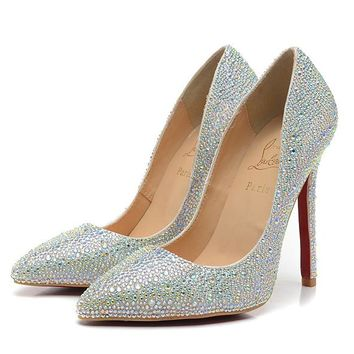 Christian Louboutin Fashion Edgy Diamond Sequin Red Sole Heels Shoes