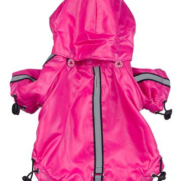Reflecta-Sport Adustable Reflective Weather-Proof Pet Rainbreaker Jacket - Hot Pink: X-Small