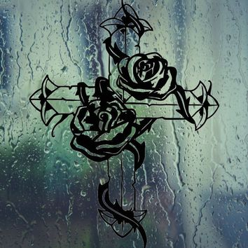 2 Rose Decorated on Bible Cross Die Cut Vinyl Wall Decal - Permanent Sticker