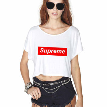 Supreme logo Crop Shirt , Custom Crop Shirt , Woman Crop Shirt