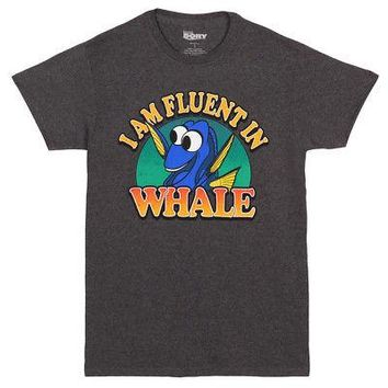 Finding Dory I Am Fluent In Whale Pixar Licensed Adult Unisex T-Shirt - Grey