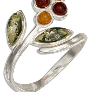Multicolor Baltic Amber Flower Bypass Ring