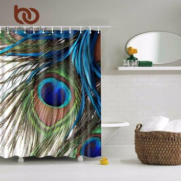 Peacock Feather Abstract Paintings Bathroom Shower Curtain