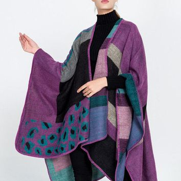 Casual Women Leopard Striped Printed Knitted Cloak Shawl Cardigan