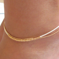 Delicate White And Gold Anklet - Multistrand Ankle Bracelet - Anklet Double Strand - Colorful Anklet - Beaded Anklet