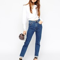 ASOS Farleigh Highwaist Slim Mom Jeans in Flat Authentic Vintage Wash