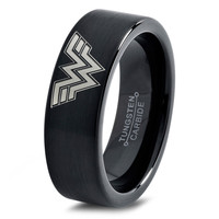 Wonder Woman Ring Comics Ring Jewelry Fanatic Geek Sci Fi Science Fiction Girls Womens Wonder Woman Ring Tungsten Carbide 51