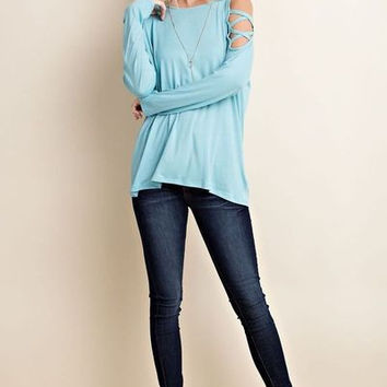 Cold shoulder top with criss cross shoulder binding detail