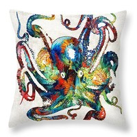 "Colorful Octopus Art by Sharon Cummings Throw Pillow 14"" x 14"""