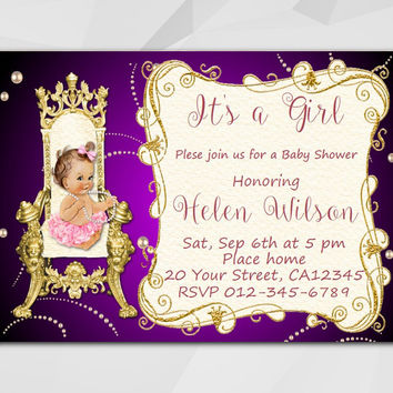 Baby Shower invitation, Editable PDF, Instant Download. Vintage Baby on the Royal Throne.