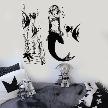 Vinyl Wall Decal Mermaid Anime Girl Marine Kids Room Stickers Unique Gift (ig3874)