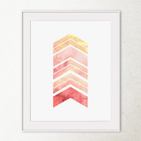 Printable Wall Art, Girls Bedroom Wall Decor, Geometric Wall Art, Chevron Arrows Coral and Pink Art Print, Girls Room Decor, Abstract Print