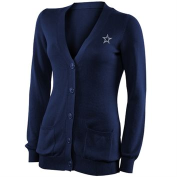 Pro Line Dallas Cowboys Ladies Cotton Boyfriend Cardigan - Blue