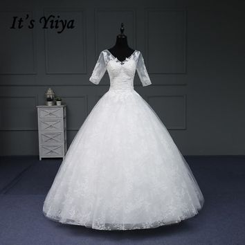 It's YiiYa New Wedding Dress Half V-Neck Floor-Length Lace Up Romantic Appliques Backless Luxyry Rode Be Mariage Vestido IY166