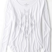 AEO Women's Snowflake Graphic T-shirt (White)