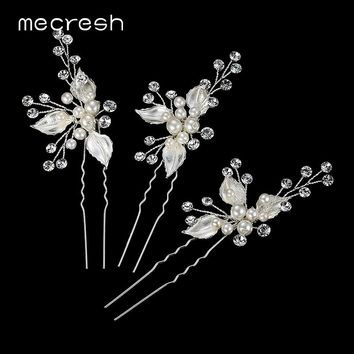 Mecresh Simulated Pearl Bridal Hairpins Crystal Hair Pins Silver/Gold Color Floral Hairwear 2017 Wedding Hair Accessories MTS059