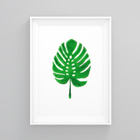 Tropical leaf, Monstera print, Tropical decor, Monstera leaf, nordic design,modern art, watercolor print, instant download, Tropical wall