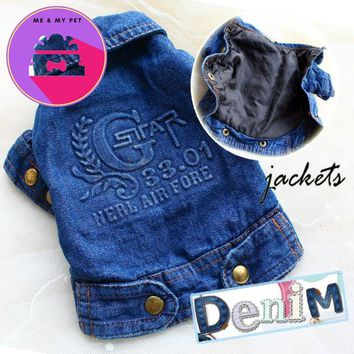 Free shipping Cool denim cloth lining thin cotton dog jeans jacket coat pets clothes apparel for winter