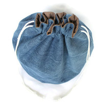 Denim Toy Bag Upcycled Blue Jeans Chocolate Brown Medium Size Tote - US Shipping Included