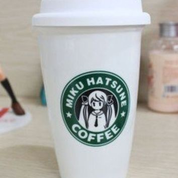 Vocaloid 2 Hatsune Miku Starbucks Coffee Ceramic Cup Two Layers Heat-resistant