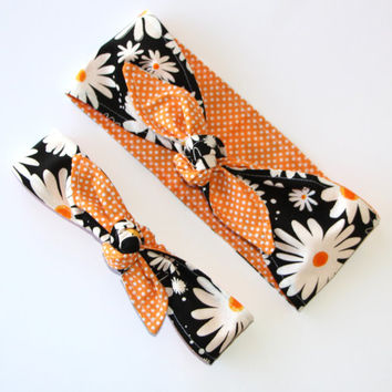 Mommy and Me Reversible Black with Daisy over Orange Tiny White Polka Dots Head Scarfs Rockabilly Pinup Women Baby Headband Hair Accessory