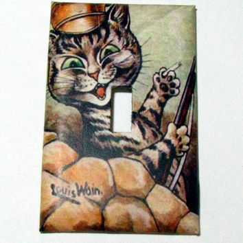 Light Switch Cover - Light Switch Plate  Soldier Cat Louis Wain