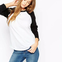 Block Cutout-back Long Sleeve Shirt
