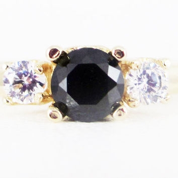 Black and White CZ 14k Yellow Gold Three Stone Ring, Solid 14 Karat Gold Ring, Yellow Gold Black CZ Ring