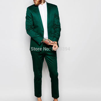 Best Selling 2016 Custom Made One Button Groom Suit Green Satin Slim Fit Men Suits For Wedding Prom Tuxedos Men's Wedding Suits
