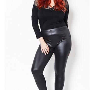 Plus Size PU Leather Wet Look Leggings