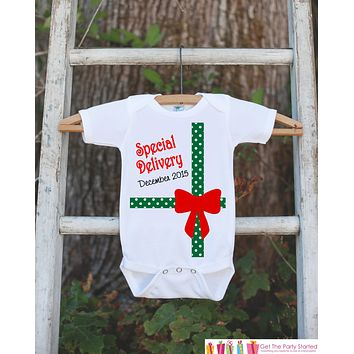 First Christmas Outfit - Special Delivery Christmas Onepiece - Baby's First Christmas - Christmas Baby Birth Announcement - Novelty Outfit