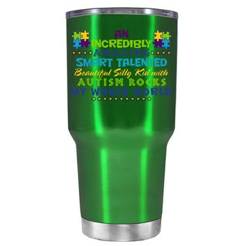 TREK An Amazing Smart Talented Kid with Autism on Translucent Green 30 oz Tumbler Cup