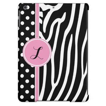 Black White Polka Dots Zebra Print Pink Monogram iPad Air Cover