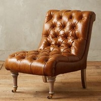 Leather Orianna Slipper Chair by Anthropologie