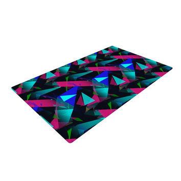 "Alison Coxon ""Confetti Triangles Dark"" Magenta Blue Woven Area Rug"