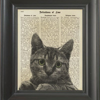 A green eyes cat  -printed on love page. 250Gram paper.