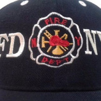 Vintage New York City Fire Department FDNY Dark Blue Hat One Size Fits All Adjustable Baseball Cap Gift Vintage Retro Unisex Gift