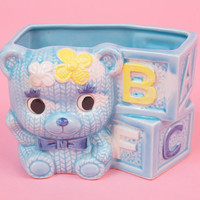 Vintage Kitsch Teddy Bear Nursery Planter for Baby Shower w Toy Letter Blocks
