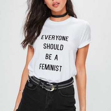 Missguided - White Feminist Slogan Crop Tshirt
