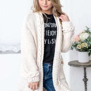 Cream Chunky Thick Knit Cardigan