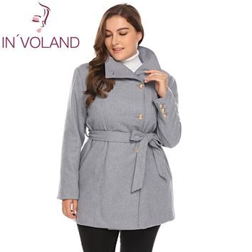 Women Plus Size L-5XL Wool Blend Coat Casual Warm Winter Lapel Long Sleeve Belted Slim Solid Large Overcoat Trench Coat Oversize